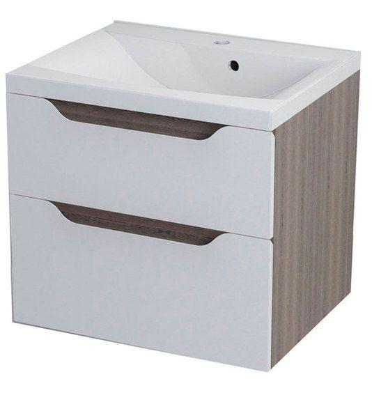 Sapho Wave II mosdótartó szekrény 60 x 65 x 48 cm, fehér / mali wenge (WA063)