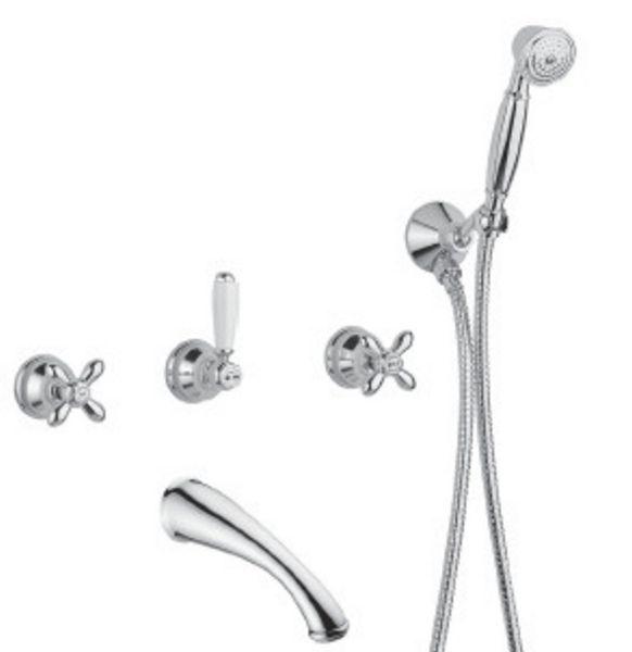 Bugnatese Old-800 Fal alatti váltós kádcsaptelep kifolyóval és zuhanyszettel / Fehér és Arany (018CODO)